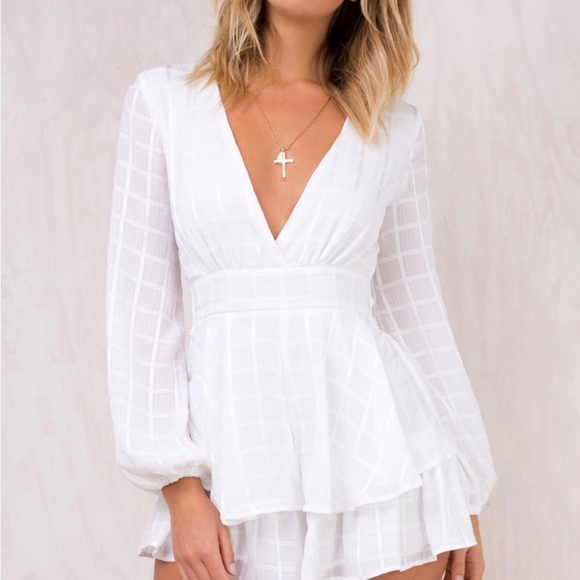 30ff2b46f7 NWT Princess Polly White Romper Playsuit